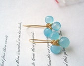 GEMSTONE capri  Blue chalcedony, wire wrapped crafted Orchid Dangle Earring 1 pair, blue earrings