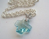 Swarovski blue necklace crystal cross silver tone necklace with fleur de lis  bail aquamarine blue  jewelry gift  1 piecevLove Faith Hope