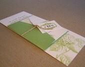 Lime Green Wedding Invitation - Elegant Hydranga Suite with Monogram
