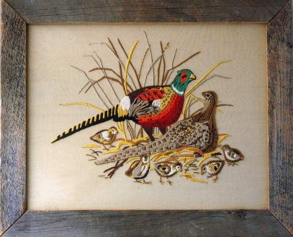 Pheasant Family Embroidery
