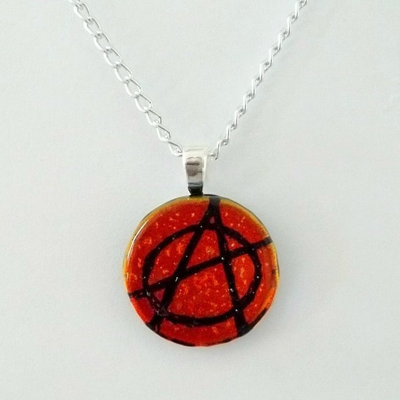 Red Anarchy Fused Dichroic Glass Pendant