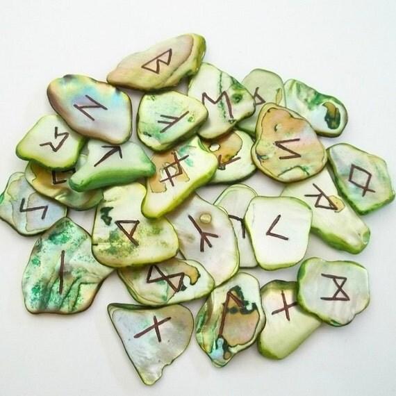 Green Elder Futhark Abalone Shell Runes Runeset Norse