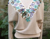vintage beige sweater with beaded and sequin neck line