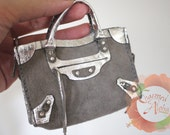 Miniature Bag Charm / Doll Purse in Gray Suede with Metallic Silver Leather Trims