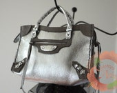 Miniature Bag Charm / Doll Purse in Metallic Silver Leather with Gray Suede Trims