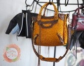 Miniature Bag Charm in Metallic Orange w/Bronze Leather Trimming (reserved)