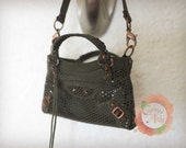 Miniature Bal Bag Charm in Imprinted Stella Olive with Olive Suede Trimming (reserved)