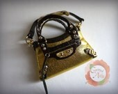 Miniature Bal Bag Charm in Gold with Metallic Chocolate Brown Trimming (reserved)