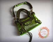 Miniature Bal Bag Charm in Metallic Apple Green with Olive Suede Trimming (reserved)