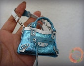 Miniature Bal Leather Bag Charm in Metallic Ice Blue with Pearlized White/Baby Blue Trimming (preorder)