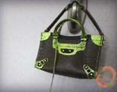 Miniature Leather Bag Tri-Color Charm in Dark Olive with Stella Olive/Metallic Apple Green Trimming (preorder)