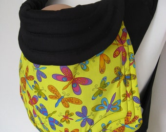 MEI TAI Baby Carrier / Sling  / Reversible / Yellow Butterflies in  straight cut model