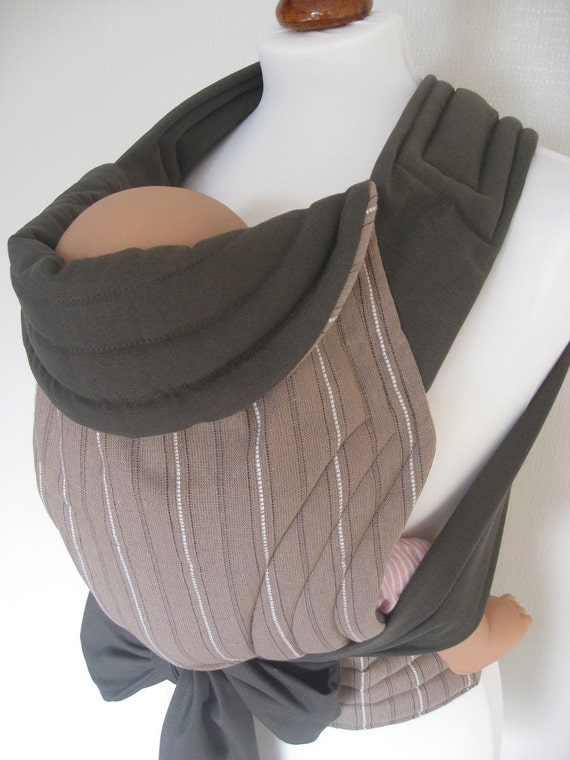 MEI TAI Baby Carrier / Sling / Reversible/ Khaki and Beige with White Stripes in leg cut model
