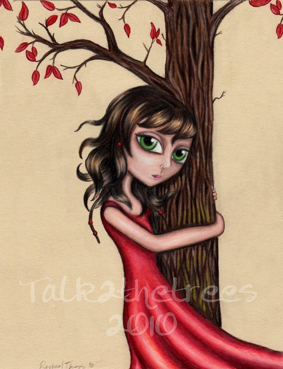 Art print of a girl hugging a tree - Girl in red dress - Tree hugger - 5x7 art print