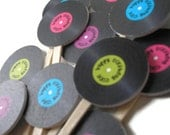 PRINTABLE Record Cupcake Topper - PDF File Customized with your colors and text