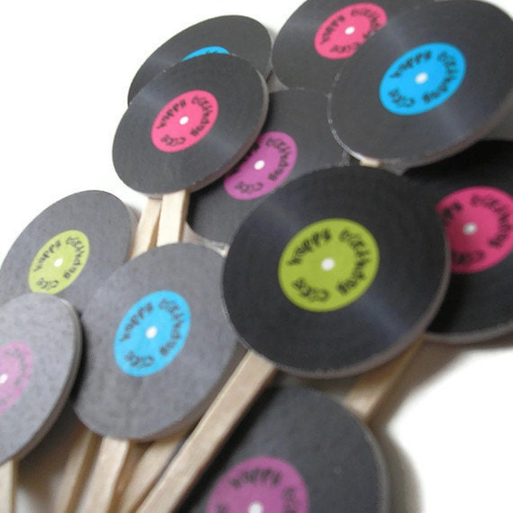 Vinyl Record Cake Toppers