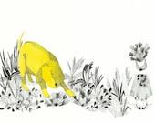 20 % OFF  giclee print, fine art ,simulating yellow dog