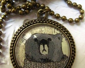 jewelry necklace, Bear beautiful illustrated necklace