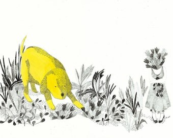 20 % OFF  giclee print, fine art ,simulating yellow dog