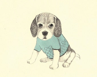 giclee print, fine art, dressed puppy