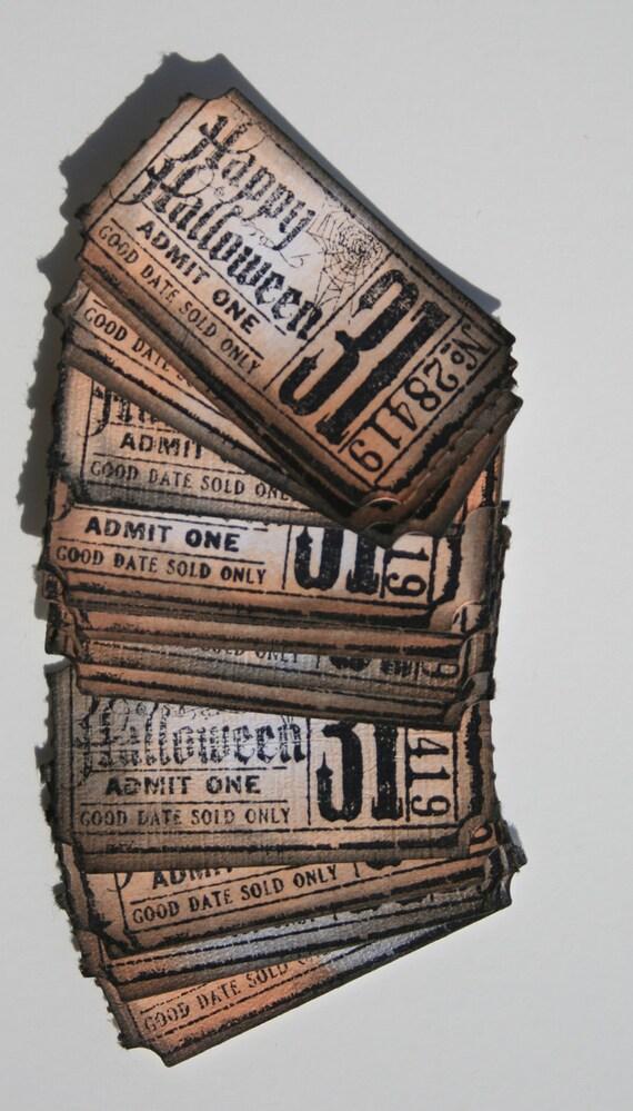 Halloween tickets set of 13 orange and black, Halloween tickets, Halloween tags, Halloween hang tags,  Halloween treat bag tags