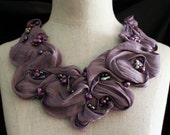 PURPLE PASSION Silk Fabric and Freshwater Pearls Collar Statement  Necklace