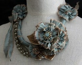 MARIE Teal Statement Floral Necklace