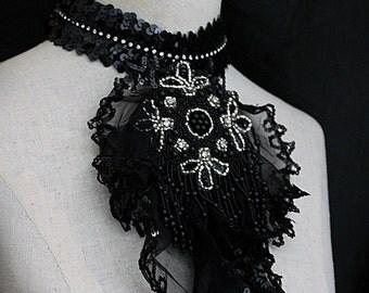 BLACK JABOT  Black Silver Statement Necklace Wearable Art
