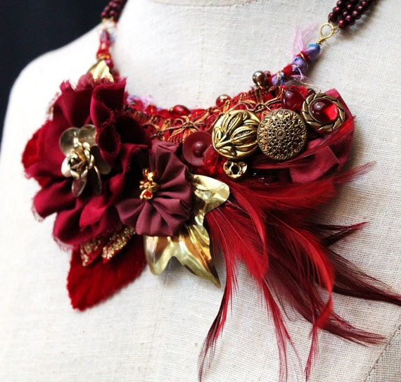 ROSE RED Floral Bib Holiday Necklace Red Roses