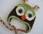 OSCAR Baby Boy Owl Earflap Hat  - Adorable Photographers Prop