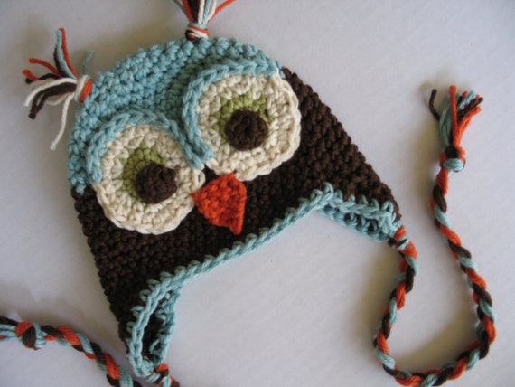 OLIVER Baby Boy Owl Earflap Hat  - Adorable Photographers Prop