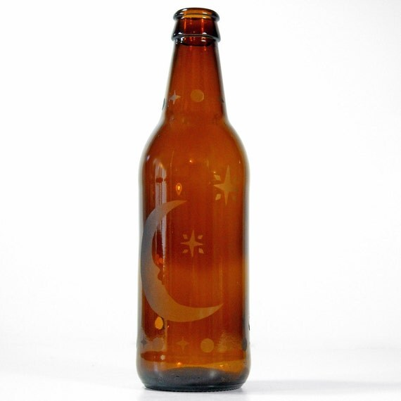 Incense Burner, Smoking Bottle, Etched Glass - Upcycled Beer Bottle, MOON and STARS