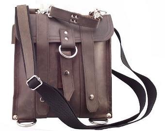 Leather iPad Bag New:  - Rustic Brown Slim Messenger Bag