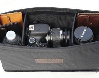 Large Camera Insert - Adjustable Divider -  Padded  - crafted from water resistant nylon -  Made in the U.S.A.