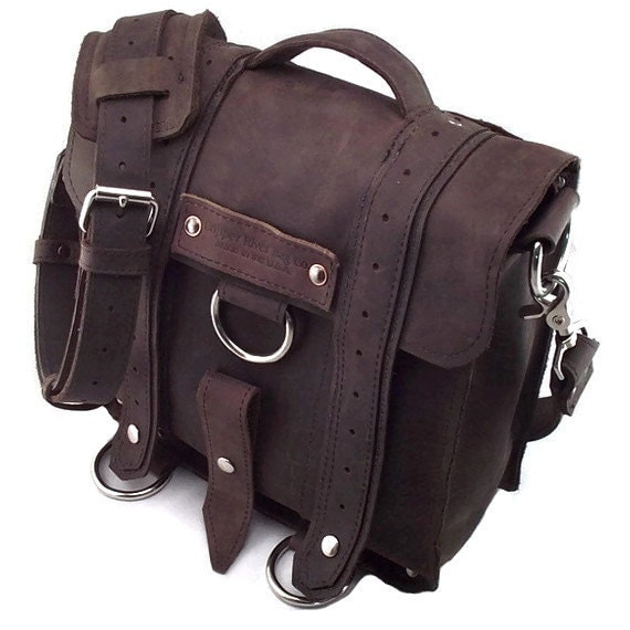 Rugged Brown iPad Safari Messenger Bag with Leather Strap - 100% Leather - Made in the U.S.A. - Water Resistant