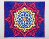Innovative Art Quilt / Strip Pieced Kaleidoscope/ Rita Hutchens Tubular Strip Piecing