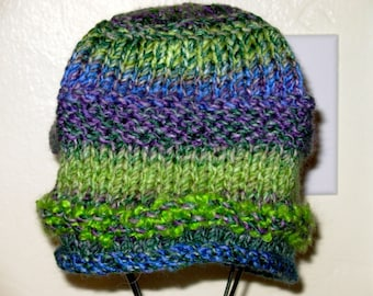 Purple and Green wool knitted hat