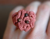 Coral Fabric Ring, Pink Flower, size 7 to 8