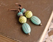 Long Turquoise Earrings, Turquoise and Lime Green Beads, Long Dangle