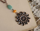 Copper Flower Necklace, Anthropologie Style, Bohemian