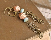 Long Dangle Earrings, Orange, Sky Blue, and Bronze, Indie Style
