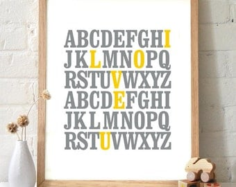ABC I Love You Alphabet Typography Print. Gray and mustard yellow. Nursery art wall art poster home decor inspirational quote - TA101