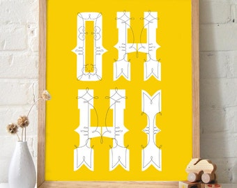 Oh Hi Typography Print. Mustard Yellow background. Hello Welcome Greeting poster Wall Art Home decor funny housewarming gift -  TG100