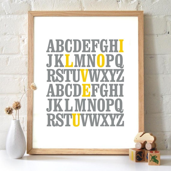 ABC I Love You Alphabet Typography Print. Gray and mustard yellow. Baby Shower gift nursery art valentine's day gift - TA101