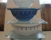 Lovely Pyrex Snowflake Blue Cinderella Nesting Bowl Set