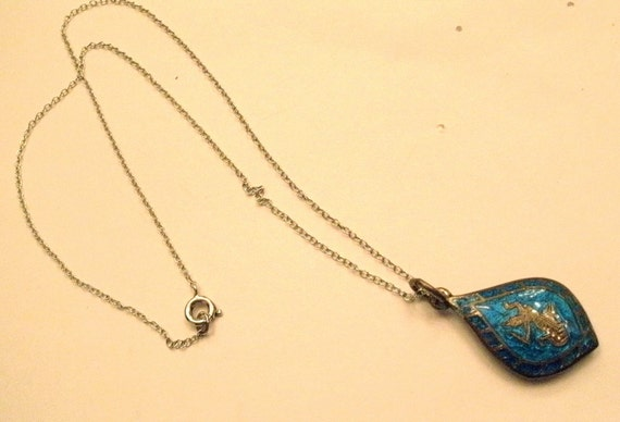 Vintage Siam Sterling blue enamel pendant with Sterling chain