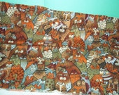 Cat Fabric Remnant in Autumn Colors