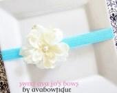 Mallory- Cream Delphinium Blossom Elastic Headband