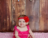Grace- Red Satin and Tulle Flower Puff Elastic Headband
