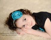 Lorelei- Turquoise Ruffle Ranunculus Damask Elastic Headband